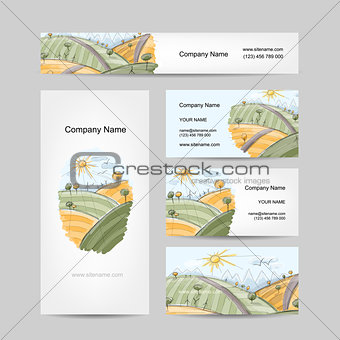 Autumn field sketch, business cards design