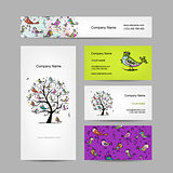 Business cards design, art tree with funny birds