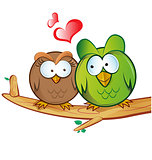 owl cartoon in love