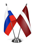Russia and Latvia - Miniature Flags.