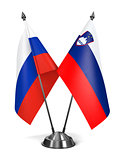 Russia and Slovenia - Miniature Flags.