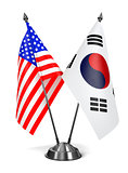 USA and South Korea - Miniature Flags.