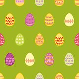 Tile vector pattern with colorful easter eggs on green background