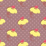 Seamless vector pattern with tile lemon cupcake and polka dots on violet background