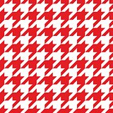 Tile vector pattern with white and red houndstooth background