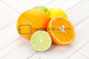 Citrus fruits. Oranges, limes and lemons