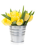 Fresh yellow tulips bouquet