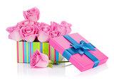 Gift box full of pink roses