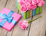 Valentines day gift box full of pink roses