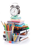 School and office supplies and alarm clock
