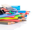 School and office supplies heap