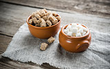 Bowls of white and brown sugar