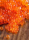 Red caviar close up