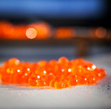 Red caviar close up