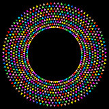 Colorful round frame with triangles
