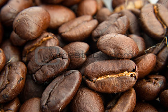 Close up of a coffee bean pile
