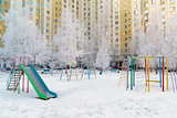 Playground structure outdoors in winter