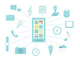 Smart phone and functions infographics