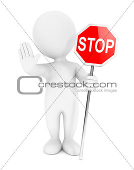 3d white people stop sign