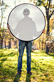 Boy with reflector