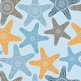Vector Seamless Pattern with Doodle Stars
