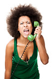 Angry woman at phone