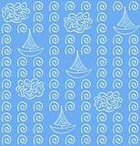 Watercolor vectoe blue color seamless pattern  with   ship
