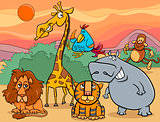 wild animals group cartoon illustration