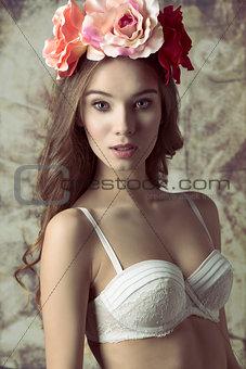 Beautiful, flower woman