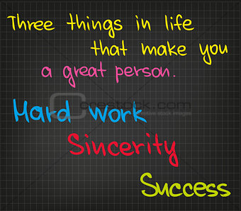Three things in life