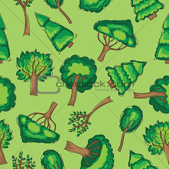 Forest trees Seamless vector patten