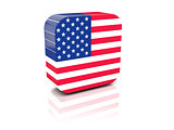 Square icon with flag of united states of america
