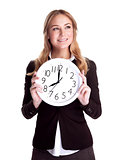 Happy woman with big clock