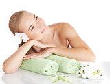 Beautiful woman enjoying spa salon