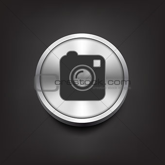 Camera simple icon on silver button