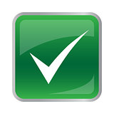 Vector agree icon on green button