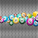 Bingo Balls on silver metallic mesh