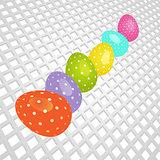 Easter coloured eggs on white 3D background