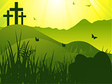 Easter serene background with crosses and eggs