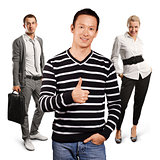 Teamwork and Asian Man In Striped Pullover