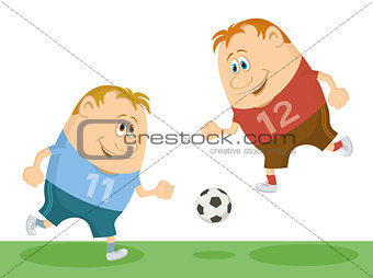 Football players playing soccer