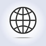 Globe simple icon gray colors