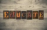 Educate Wooden Letterpress Concept