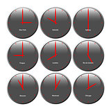 Grey clocks with glossy area showing world time, the red pointer