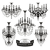 Set of chandelier silhouettes