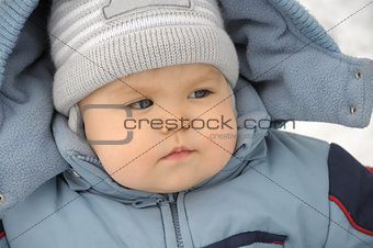 Baby portrait in winter