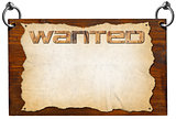 Wanted Signboard with clipping path