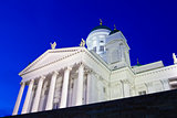 Famous Helsinki Cathedral from low-angle at twilight