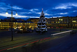 Helsinki Senate Square with Christmas tree at twilight