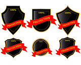 shields with ribbon